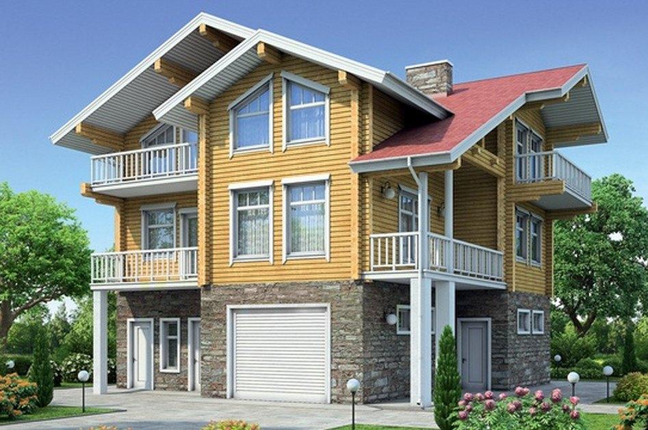 Фото трехэтажного дома из бруса