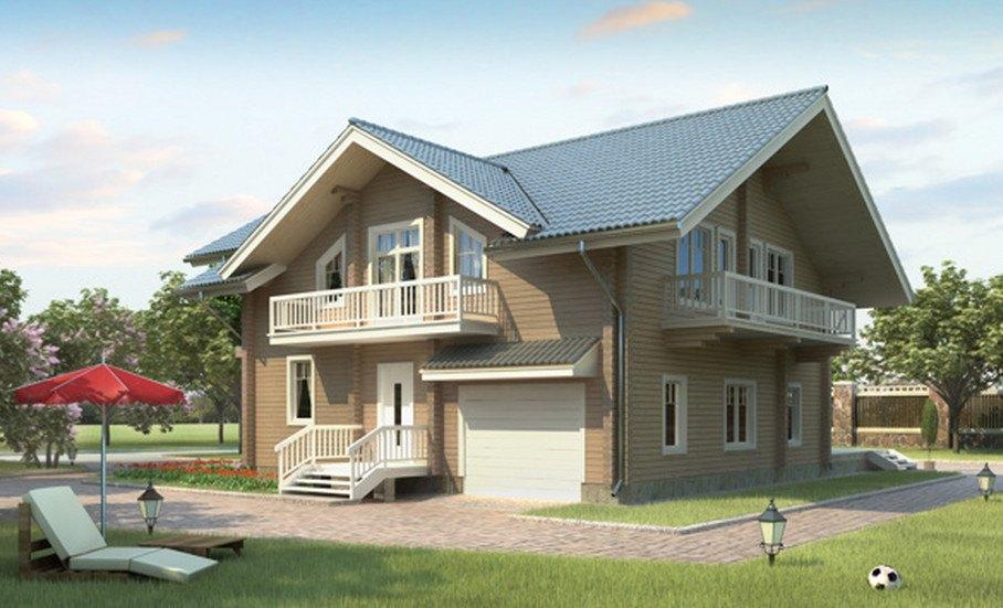 Фото двухэтажного деревянного дома