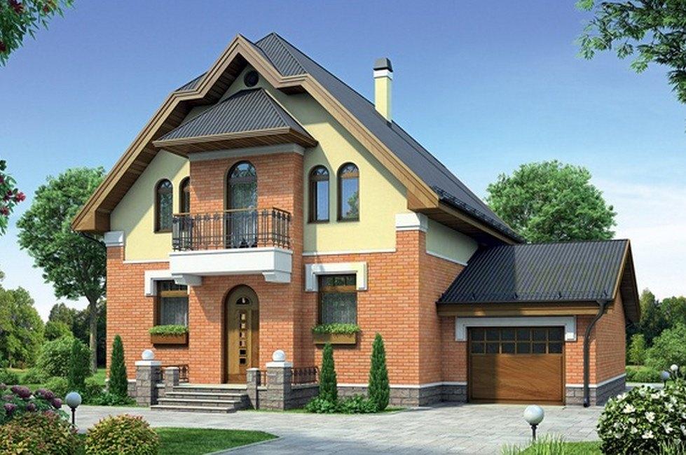 Фото проекта двухэтажного дома с гаражом