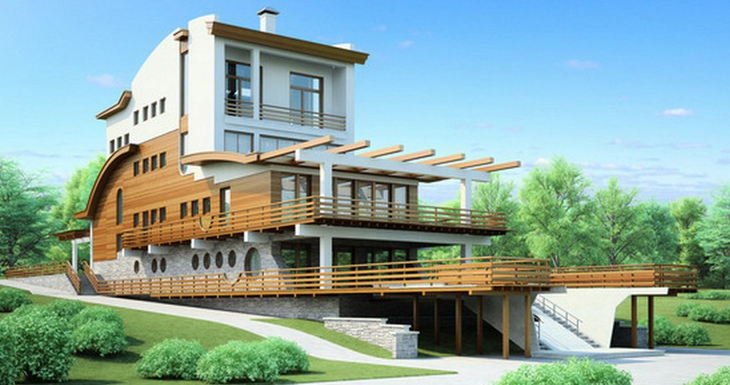 фото трехэтажного дома с мансардой
