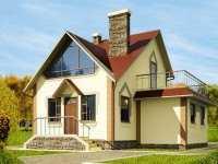 Фото двухэтажного деревянного дома общей площадью 100 кв.м.