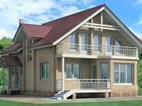 Фото двухэтажного деревянного дома общей площадью 168 кв.м.