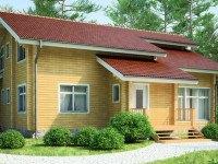 Фото двухэтажного деревянного дома общей площадью 174 кв.м.