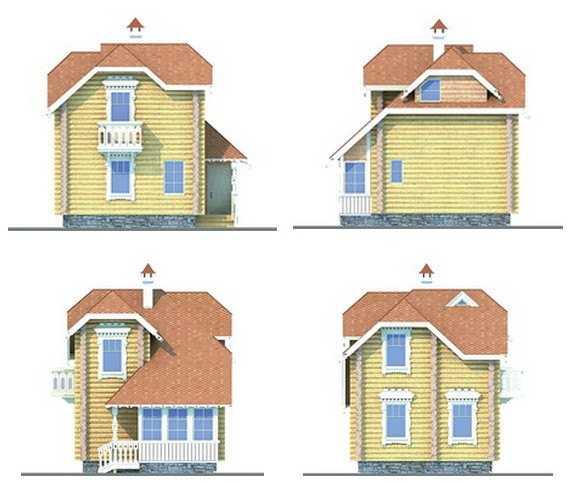 Фото фасадов двухэтажного дома 6 на 6