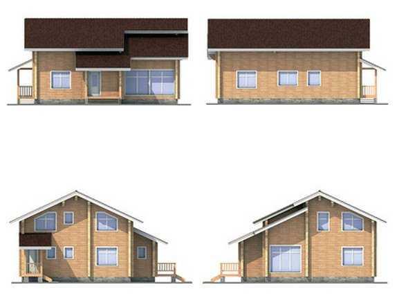 фото фасадов двухэтажного дома из бруса