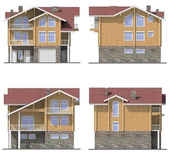 Фото фасадов трехэтажного дома из бруса