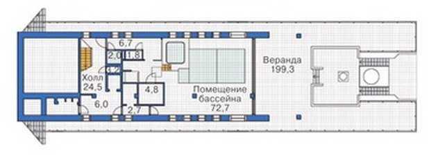 План цокольного этажа трехэтажного дома с мансардой