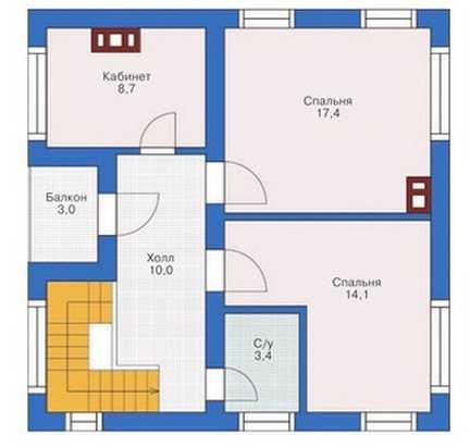 План мансардного этажа одноэтажного дома 9 на 9