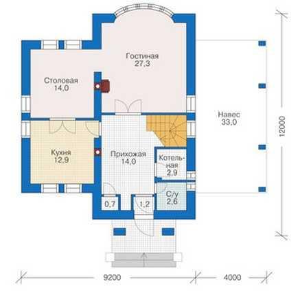 План первого этажа дома в английском стиле