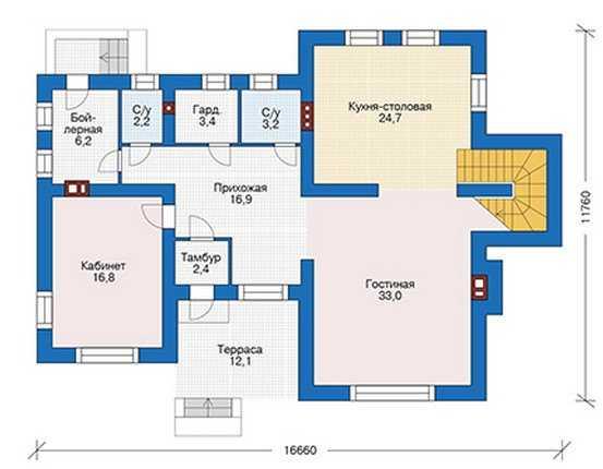 План первого этажа дома в современном стиле