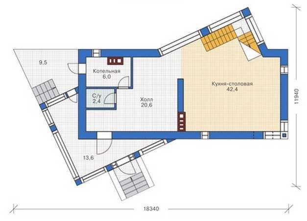 План первого этажа дома в стиле модерн