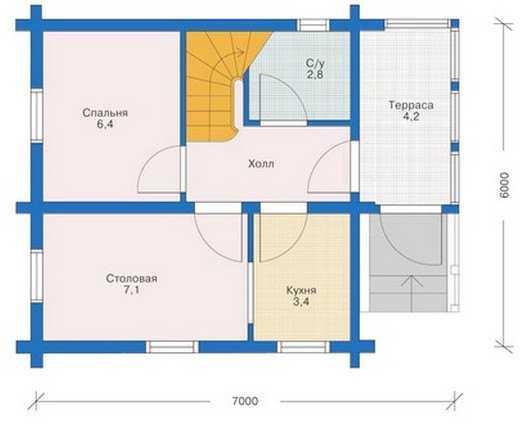 План первого этажа двухэтажного дома 6 на 6