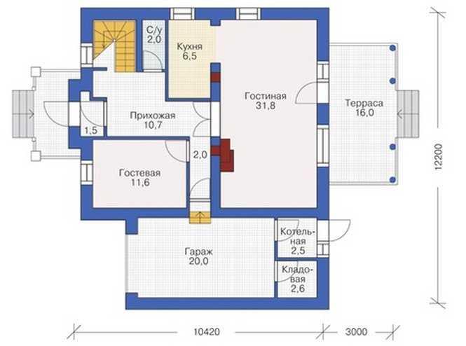 План первого этажа двухэтажного дома с гаражом