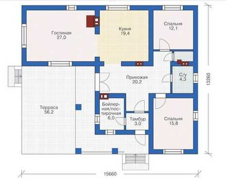 План первого этажа красивого одноэтажного дома