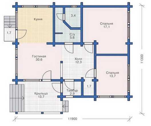 План первого этажа одноэтажного дома 12 на 12