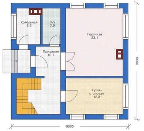 План первого этажа одноэтажного дома 9 на 9