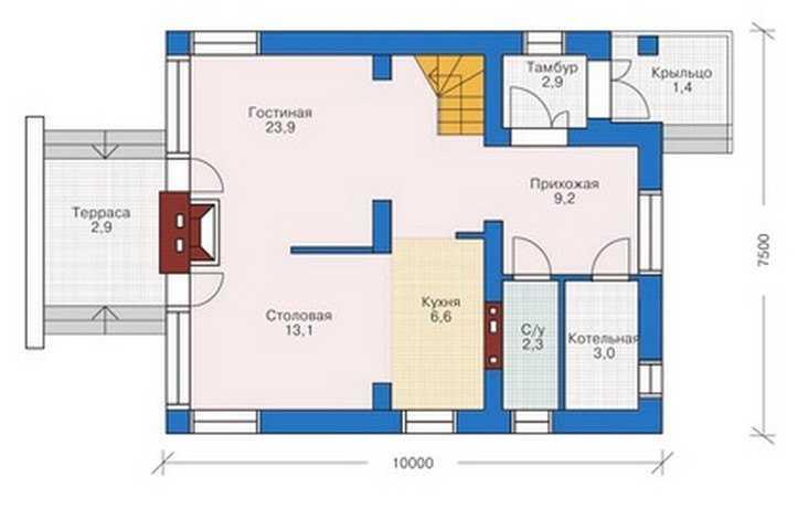 План первого этажа одноэтажного дома с мансардой
