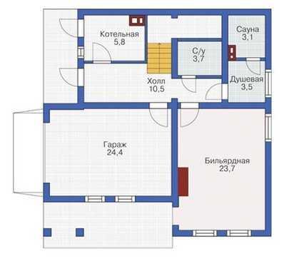 План первого этажа трехэтажного дома из бруса
