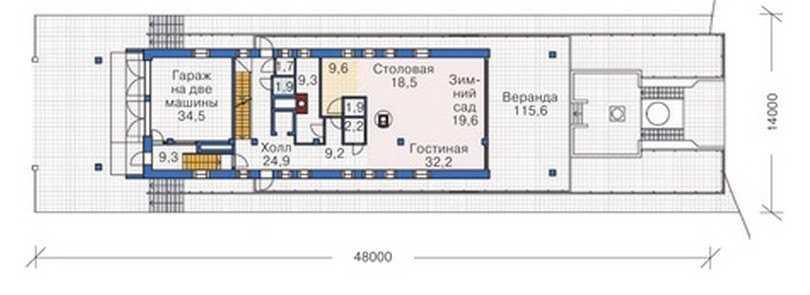 План первого этажа трехэтажного дома с мансардой