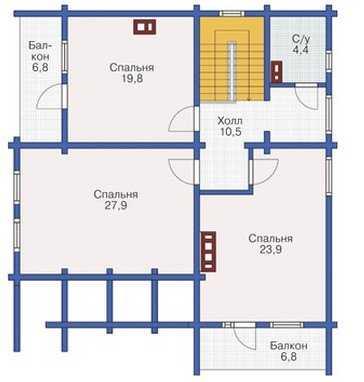 План третьего этажа трехэтажного дома из бруса