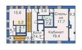 План третьего этажа трехэтажного дома с мансардой