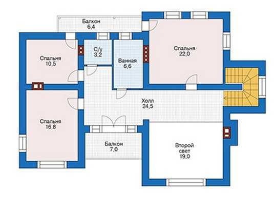 План второго этажа дома в современном стиле
