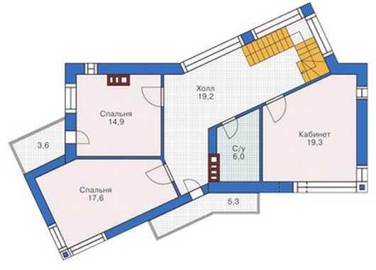 План второго этажа дома в стиле модерн