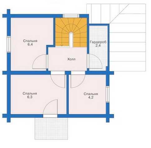 План второго этажа двухэтажного дома 6 на 6