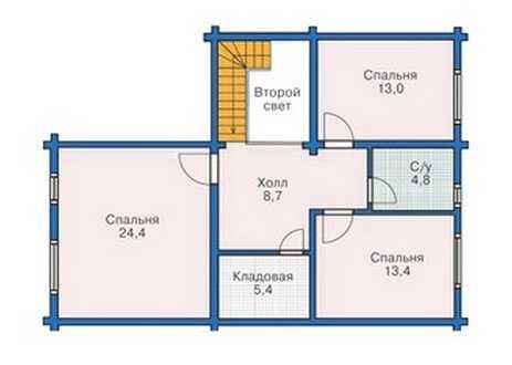 План второго этажа двухэтажного дома из бруса