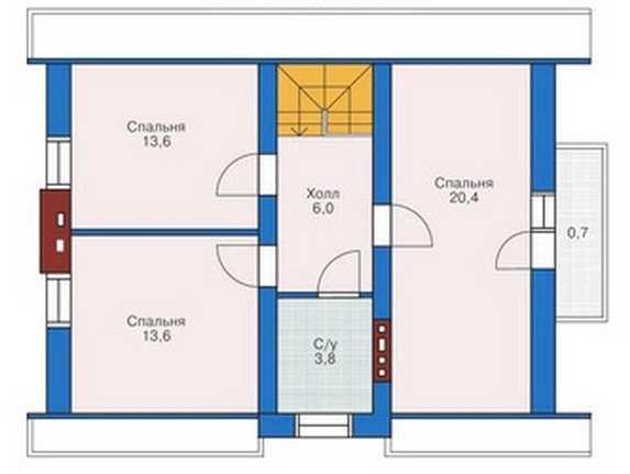 План второго этажа одноэтажного дома с мансардой