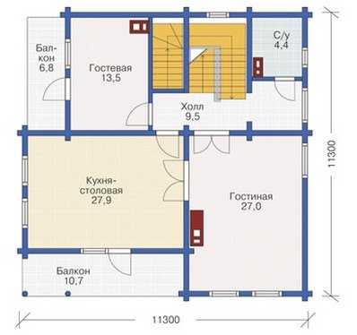 План второго этажа трехэтажного дома из бруса