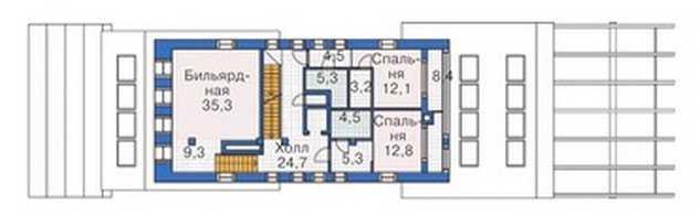 План второго этажа трехэтажного дома с мансардой