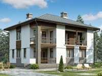 Фото двухэтажного дома 8 на 8 общей площадью 156 кв.м.
