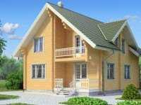 Фото двухэтажного деревянного дома общей площадью 144 кв.м.