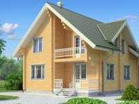 Фото двухэтажного дома из бруса общей площадью 144 кв.м.