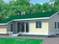 Фото одноэтажного дома общей площадью 53,8 кв.м.