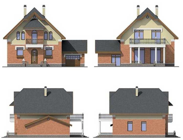 Фото фасадов двухэтажного дома с гаражом