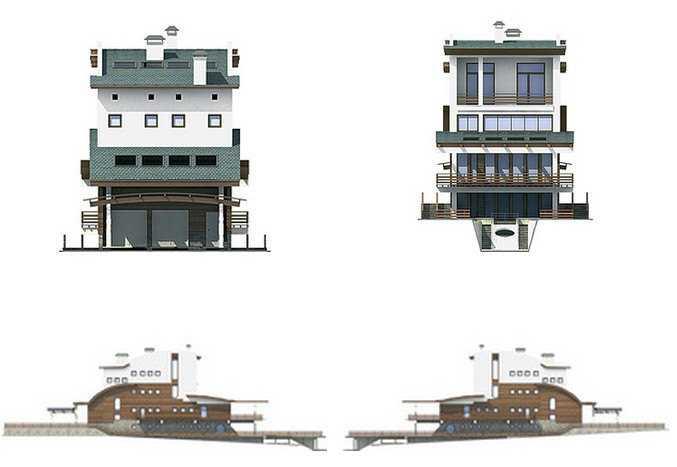 Фото фасадов трехэтажного дома с мансардой