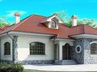 Фото красивого одноэтажного дома общей площадью 145 кв.м.