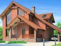 Фото одноэтажного дома с мансардой общей площадью 210 кв.м.