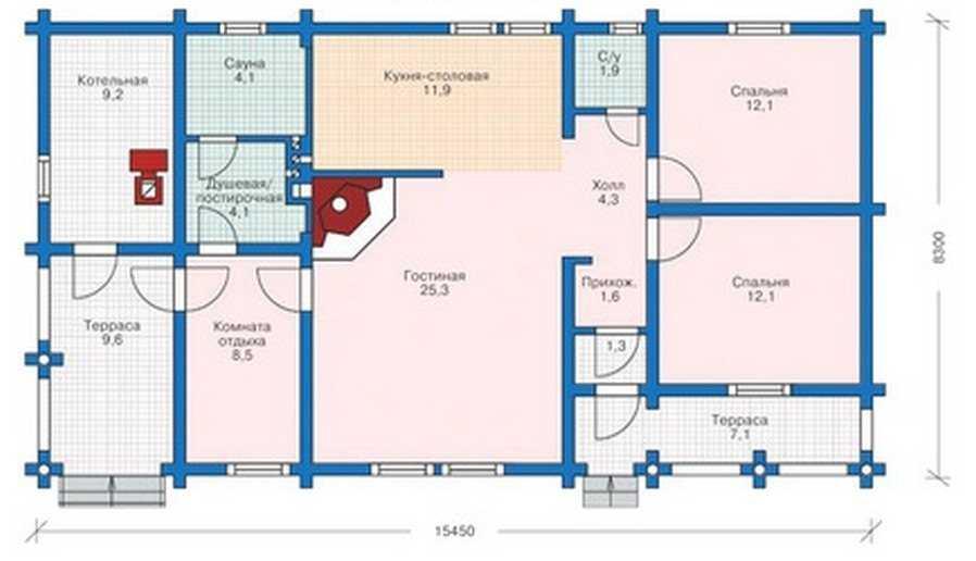 План одноэтажного дома из бруса