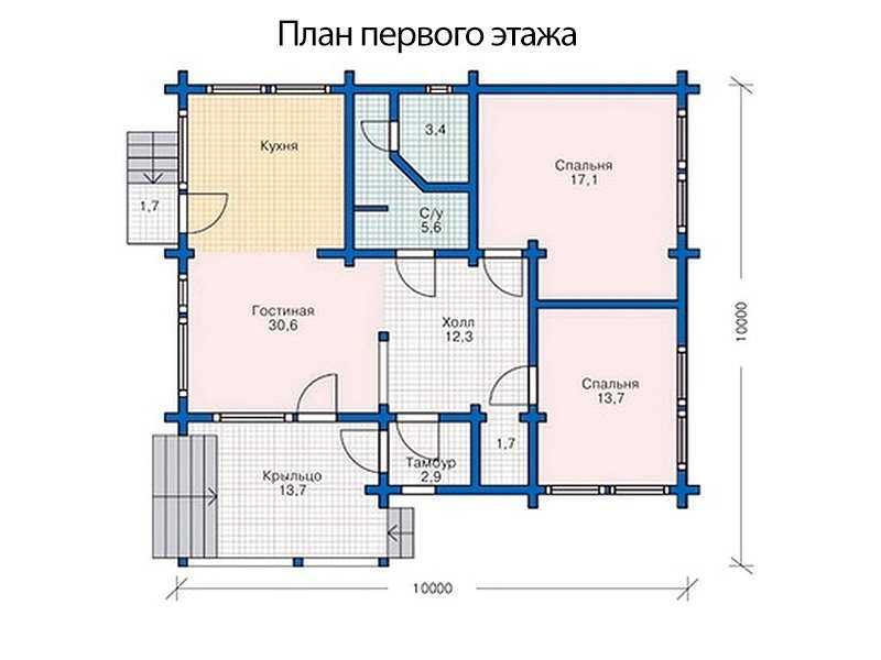 план первого этажа дома 10 на 10