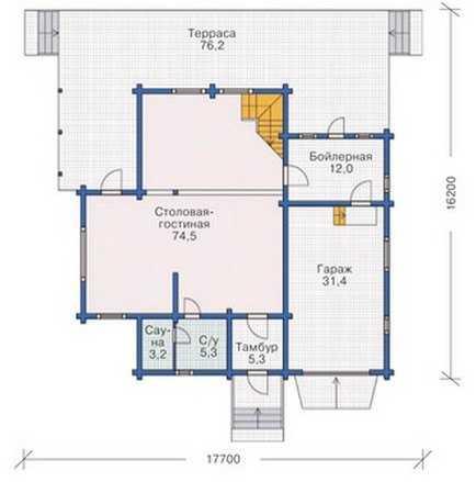 План первого этажа двухэтажного деревянного дома