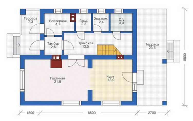 План первого этажа двухэтажного дома 8 на 8