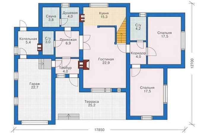 План первого этажа двухэтажного дома из пеноблоков