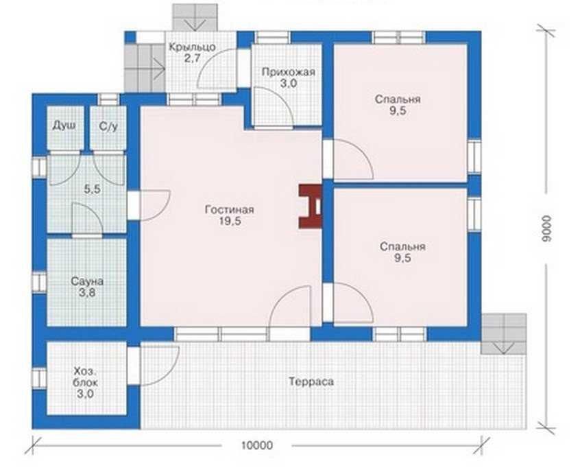 План первого этажа одноэтажного дома из пеноблоков