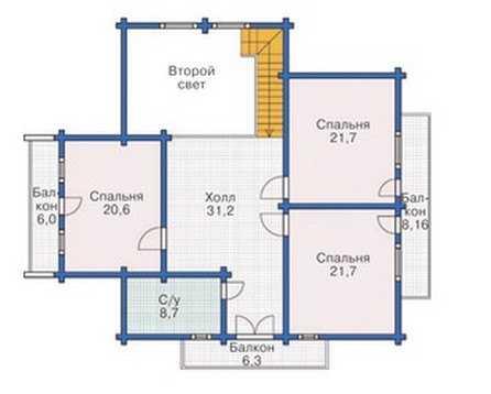 План второго этажа двухэтажного деревянного дома