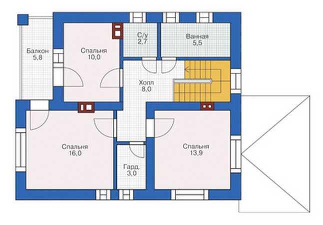 План второго этажа двухэтажного дома 8 на 8