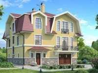 Фото трехэтажного дома из бруса общей площадью 256 кв.м.