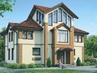 Фото красивого трехэтажного дома общей площадью 234 кв.м.